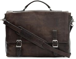 Logan Top-Handle Soft Leather Briefcase - Slate