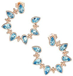 The Piper 14K Rose Gold & Blue Topaz Front-Facing Hoop Earrings - Rose Gold
