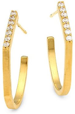 Mini Spire 22K Goldplated Pavé-Trimmed Hoop Earrings - Gold