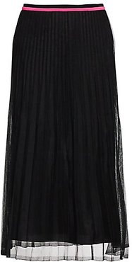 Pleated Midi Skirt - Black Neon Pink - Size XS