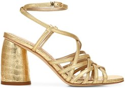 Daffodil Ankle-Wrap Croc-Embossed Metallic Leather Sandals - Dark Gold - Size 8
