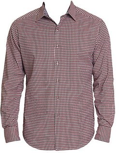 Beyond The Grid Stretch-Cotton Shirt - Red - Size Small