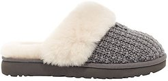 Cozy Sheepskin-Lined Knit Slippers - Charcoal - Size 10