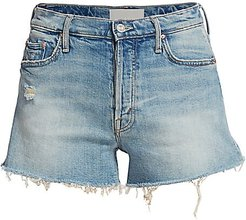 The Tomcat High-Rise Kick Fray Heart Patch Denim Shorts - I Confess - Size 31 (10)