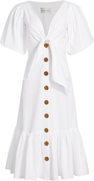 Georgica Tie-Front Flounce Dress - White - Size 6