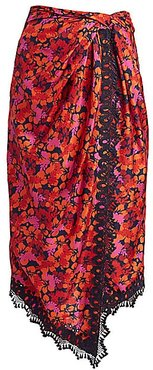 Liona Lace-Trimmed Faux-Wrap Skirt - Midnight - Size 8