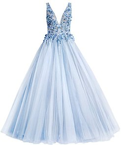 Beaded Ball Gown - Blue - Size 0