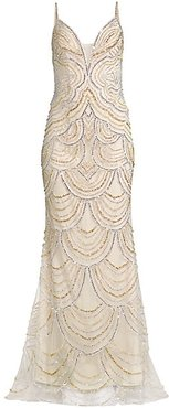 Beaded Trumpet Gown - Silver Gold - Size 6