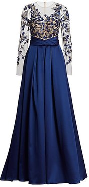 Floral Embroidered Satin Ball Gown - Sapphire Multi - Size 8