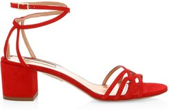 First Kiss Suede Sandals - Lipstick - Size 36.5 (6.5)