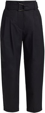 Belted Cropped Pants - Black - Size 10