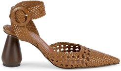 Lorca Woven Leather & Wood Heels - Taupe - Size 37 (7)