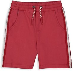 Little Boy's Drawstring Twill Shorts - Faded Red