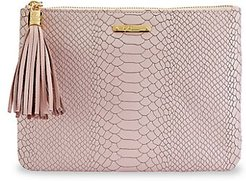 All-In-One Python-Embossed Leather Clutch - Nude