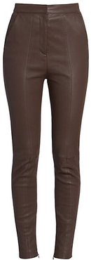 High-Waist Stretch Leather Pants - Marron Fonce - Size 38 (6)