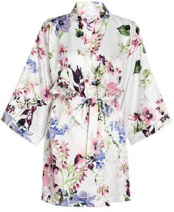 And I Love Her Floral Robe - Ivory - Size Medium-Large