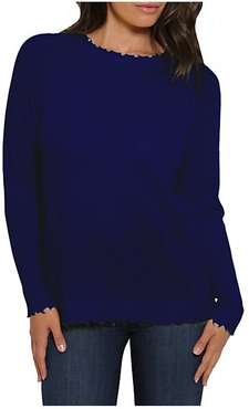 Distressed Knit Cashmere Sweater - Royal Caribbean - Size Large