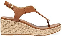 Laney Leather Espadrille Thong Sandals - Luggage - Size 7.5