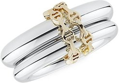 Virgo HB Sterling Silver & 18K Yellow Gold Hoorsenbuhs 2-Link Ring - Silver - Size 6