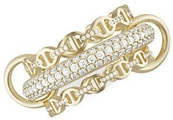 Microdame 18K Yellow Gold, Sterling Silver & Diamond 3-Link Ring - Gold - Size 7