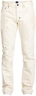 Destroyed & Paint Splattered Slim Fit Jeans - Off White - Size 38
