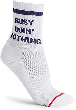 Busy Doin Nothing Socks - Busy White