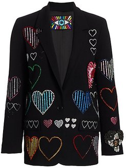 Heart Embellished Blazer - Black - Size Medium