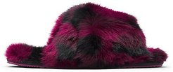 Go Mail Run Faux Fur-Lined Suede Slippers - Plum - Size 5