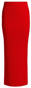 Ribbed Wool Pencil Skirt - Red Orange - Size Small