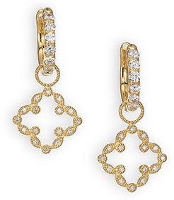 Classic Diamond & 18K Yellow Gold Open Clover Marquis Earring Charms - Gold