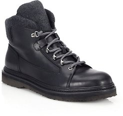 Bernina Leather & Wool Lace-Up Boots - Black - Size 8 UK (9 US)