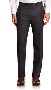 COLLECTION Wool Flat-Front Pants - Charcoal - Size 36