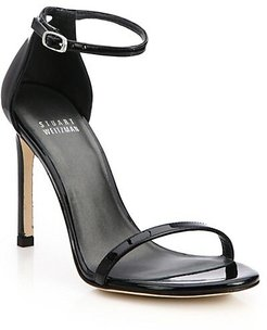 Nudistsong Ankle-Strap Metallic Leather Sandals - Black Patent - Size 8 M