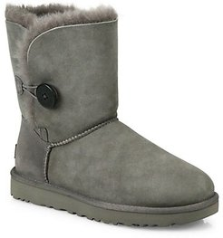 Bailey Button II Sheepskin-Lined Suede Boots - Grey - Size 12