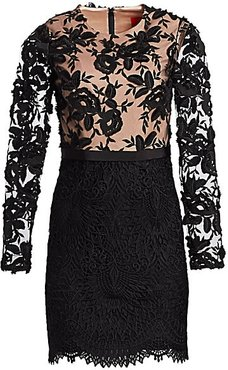 Lace Cocktail Dress - Black Nude - Size 14