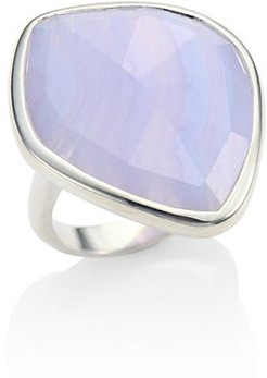 Siren Blue Lace Agate & Sterling Silver Ring - Silver - Size 4.75