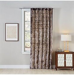 Printed Velvet Curtain - Silver Gold - Size 50 x 120