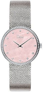 La D de Dior Diamond, Mother-Of-Pearl & Stainless Steel Watch - Pink Mother Of Pearl