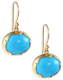 18k Gold and Turquoise Drop Earrings - Yellow Gold