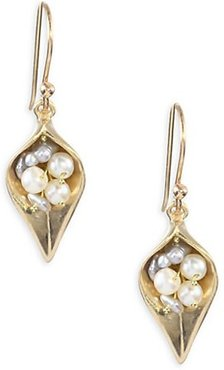 1-3MM Pearl & 14K Gold Small Day Flower Earrings - Yellow Gold