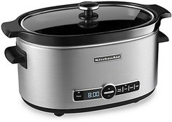 Lidded Six-Quart Slow Cooker - Stainless Steel