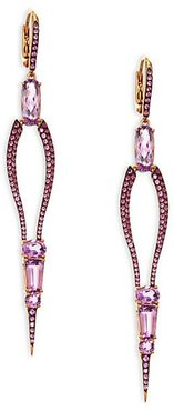 Sharp 18K Rose Gold Amethyst Sapphire Drop Earrings - Rose Gold
