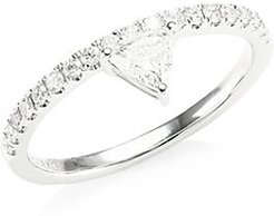 Diamond White Gold Triangle Ring - White Gold