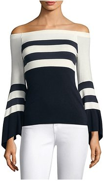 Off-The-Shoulder Bell-Sleeve Striped Top