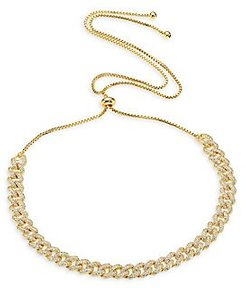 Armure Pavé Stone Curb Choker Necklace - Yellow Gold