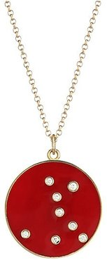 Constellation Pisces Diamond Enamel Pendant Gold Necklace - Red