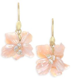 Flora African Violet Mother-Of-Pearl Drop Earrings - Yellow Gold