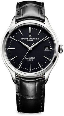 Clifton Baumatic Stainless Steel & Alligator Strap Watch - Black