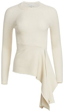 Rib-Knit Pullover - White Sand - Size Small