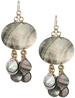 Mother-Of-Pearl & 24K Goldplated Drop Earring